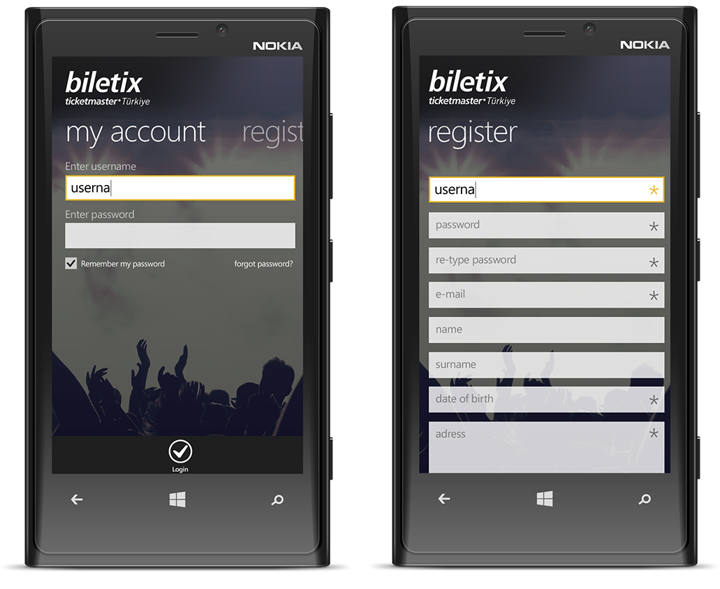 Biletix Windows Phone Uygulama